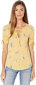Lucky Brand Ruched Short Sleeve Notch Neck Top