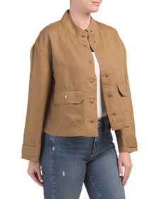 NICOLE MILLER Solid Cropped Button Front Jacket