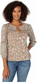 Lucky Brand 3/4 Sleeve Floral Printed Peasant Top