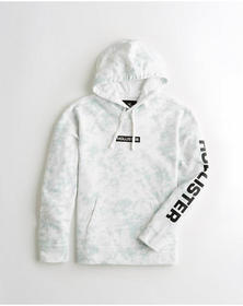 Hollister Print Graphic Terry Hoodie, LIGHT BLUE T
