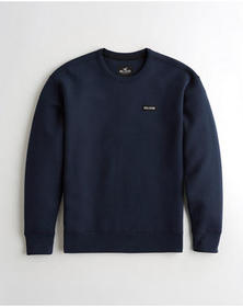 Hollister Box Logo Crewneck Sweatshirt, NAVY