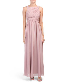 IGNITE Sleeveless Ruched Gown