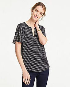 Petite Ikat Dot Split Neck Flutter Sleeve Tee