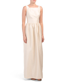 ALFRED SUNG Dupioni Square Neck Gown