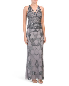 MARINA All Over Beaded Gown