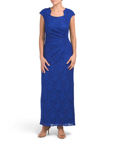 TAHARI BY ASL Petite Side Ruched Gown
