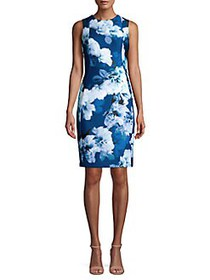 Calvin Klein Floral Art Sheath Dress BLUE