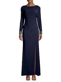 Vince Camuto Embellished Sunray Slit Gown NAVY