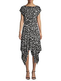 Vince Camuto Abstract-Print Handkerchief Midi Dres
