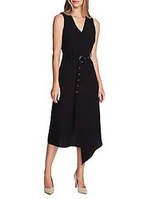 Vince Camuto Highland Crepe Belted Dress RICH BLAC