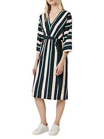 French Connection Striped Belted A-Line Dress BLUE