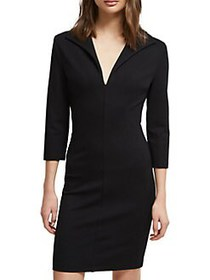 French Connection V-Neck Jersey Bodycon Dress BLAC