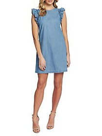 CeCe by Cynthia Steffe Flutter-Sleeve Chambray Shi