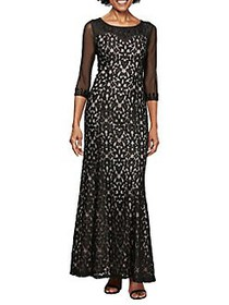 Alex Evenings Lace Beaded Illusion Evening Gown BL