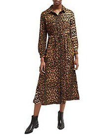 French Connection Leopard Long-Sleeve Button-Front