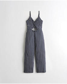 Hollister Twist-Front Crop Wide-Leg Jumpsuit, NAVY