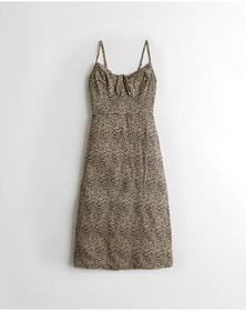 Hollister Tie-Front Midi Dress, LEOPARD PRINT