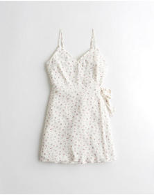 Hollister Side-Tie Wrap Dress, WHITE FLORAL