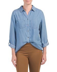 GRAND AND GREEN Roll Tab Sleeve Button Up Top