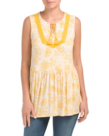 RXB Printed Peasant Top