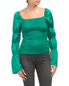 WILLOW & CLAY Smocked Puff Sleeve Top