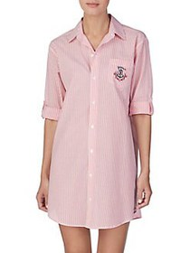 Lauren Ralph Lauren Stripe Cotton Sleepshirt RED S