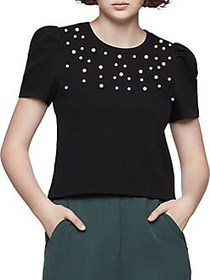 BCBGeneration Pearlescent Puff-Sleeve Sweater BLAC