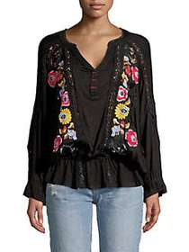 Free People Embroidered Long-Sleeve Top BLACK COMB
