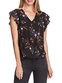 Vince Camuto Highland Printed Wrap Blouse RICH BLA