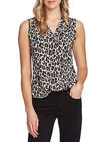 Vince Camuto Essentials Printed Blouse RICH BLACK