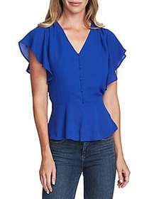 Vince Camuto Highland Pleated Rumple Blouse ELECTR
