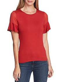 Vince Camuto Highland Mixed-Media Top BURNT AMBER