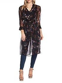 Vince Camuto Highland Floral Belted Tunic RICH BLA