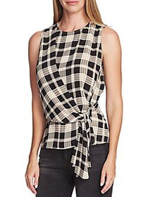 Vince Camuto Highland Tie-Front Plaid Blouse RICH