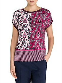Olsen Two-Tone Floral Pano Tee BAROLO RED