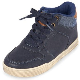 Boys Lace Up Chambray Sneakers