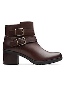 Clarks Buckled Leather Booties MAHOGANY
