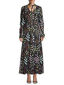 Valentino Long-Sleeve Printed Maxi Dress BLACK MUL