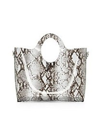 Vince Camuto Lonna Snakeskin Printed Tote NATURAL
