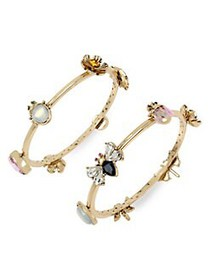 Betsey Johnson Tortifly Bug & Flower Charm Bangle