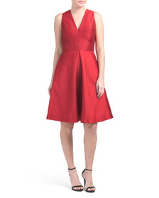 ALFRED SUNG V-neck Dupioni Dress With Pockets