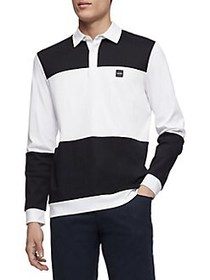 Calvin Klein Colorblock Long-Sleeve Polo Shirt WHI