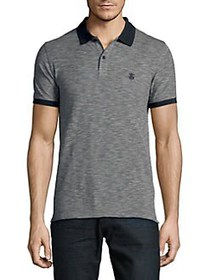 Selected Homme Heathered Cotton Polo DARK SAPPHIRE