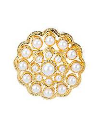 Kenneth Jay Lane White Faux Pearl Pin NO COLOR