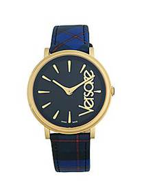 Versace Goldtone Stainless Steel & Plaid Leather-S