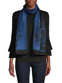 Roberto Cavalli Graphic Wool-Blend Wrap-Around Sca