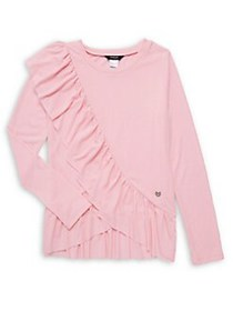 Bebe Girl's Ruffle-Front Top LIGHT PINK