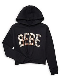 Bebe Girl's Graphic Cotton-Blend Hoodie BLACK