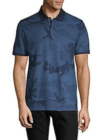 DKNY Camouflage Cotton-Blend Polo DARK DENIM