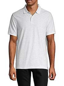 DKNY Printed Cotton-Blend Polo WHITE